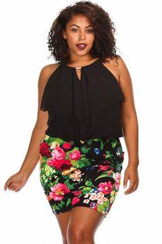 a48ba16d2b6 Plus Size Chiffon Ruffled Floral Print Dress