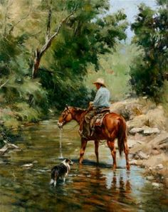 "John Austin Hanna - ""Cooling Their Heels"" ~ 30"" x 24"" Oil - $7,650"