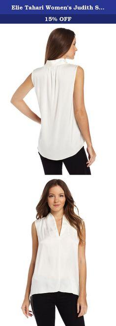 Elie Tahari Women's Judith Silk Georgette Sleeveless Blouse, Creme, Medium. Luxurious stretch-silk elevates this minimalist blouse for a transformative yet effortless essential.