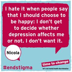 Nicola's blog about her experience of depression and dealing with people's expectations of how someone with depression should look and act. #endstigma