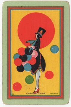 "NN Narrow Named ""Carnival Day"" Single Swap Playing Card Bridge Playing Cards, Art Deco Illustration, Illustrations, Vintage Playing Cards, Cartomancy, Old Images, Name Art, Note Cards, Card Games"
