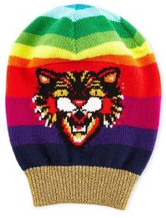 35b5ed38899 Gucci Wool Beanie Hat with Angry Cat Motif