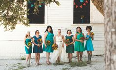 We love the gorgeous hues of these bridesmaid dresses! // Vanessa Lain Photography
