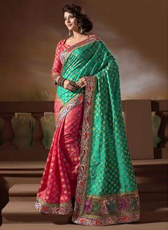 Perfect #Brocade Half N Half #Saree