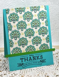 handmade thank-you card ... folk flower pattern in green and aqua ... like the look ... Paper Trey Ink ...