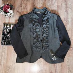 "Calessa Gray Blazer size L CALESSA Gray Ruffled Trim One Button Blazer/Jacket.  Fabric is:  55% POLYESTER, 25% COTTON, 15% RAYON & 5% SPANDEX.  -  No pockets - length 25"" - sleeves 23"" - waist 22"" approx. Calessa  Jackets & Coats Blazers"