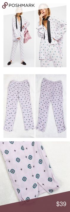 FREE PEOPLE Shirt Up Pajama Style pants NWT THIS LISTING IS FOR THE PANTS ONLY New with tags, no flaws. Lightweight drapey fabric and pretty, feminine print Color is a very pale lavender First set of images are stock all others are actual pants for sale.  Measurements available upon request   Please review all photos thoroughly  Feel free to ask questions   📎Measurements are approximate  ✏️Save 15% on bundles of 3 or more 👍🏻Bundle for best price 🚫Sorry no trades 💐 Free People Pants
