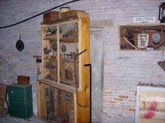 Secret door behind tool cabinet used along the underground railroad