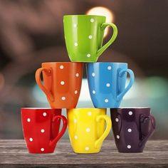 16oz Coffee Mugs Set Of 6 Ceramic Dishwasher Microwave Safe Colorful Polka Dot  #16ozCoffeeMugsSet