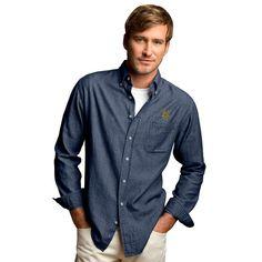 #Fanatics.com - #Vantage Apparel Vermont Catamounts Hudson Denim Long Sleeve Button-Down Shirt - Blue - AdoreWe.com