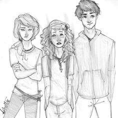 Annabeth Chase, Rachel Dare, and Percy Jackson-- you getting between me and percy as always arghhhhhhhh!