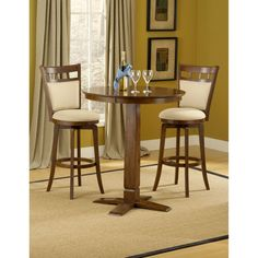 Dynamic Designs Brown Cherry Pub Table with Two Jefferson Barstools  sc 1 st  Pinterest & 3 Piece Pub Table Set | Pub Sets | Pinterest | Pub table sets Pub ...