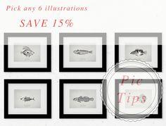 """Peces vintage - DESCUENTO ESPECIAL 15% - 21 x 14,8 cm - 14,8 x 10,5 cm - 7"""" x 5"""" - 10"""" x 8"""" - Edición limitada de PicTips en Etsy"""