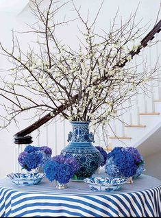 Blue and white with branches....