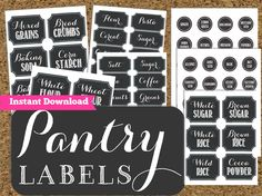 INSTANT DOWNLOAD Pantry Chalkboard Labels- Printable Pantry and Spice Jar Labels-Editable Labels by HappyOrganizedLife on Etsy https://www.etsy.com/listing/130838228/instant-download-pantry-chalkboard
