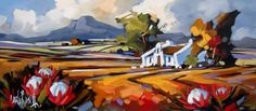 Artwork of Carla Bosch exhibited at Robertson Art Gallery. Original art of more than 60 top South African Artists - Since Tree Artwork, Canvas Artwork, South African Artists, Boat Painting, Landscape Artwork, Fine Art Auctions, Naive Art, Cool Paintings, Watercolor Art
