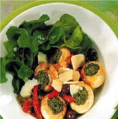 Bulgarian Stuffed Mushroom Salad Appetizer