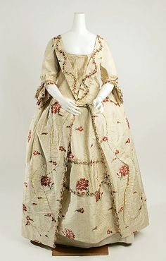 DressDate: Culture: British Medium: silk Dimensions: Length at CB (a): 58 in. cm) Length at CB (b): 39 in. cm) Credit Line: Gift of Joan F. Wilson in memory of Isabel Marindin Ferguson, 1980 Accession Number: b 18th Century Dress, 18th Century Clothing, 18th Century Fashion, Vintage Dresses, Vintage Outfits, Vintage Fashion, Vintage Wardrobe, Historical Costume, Historical Clothing