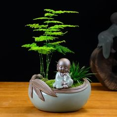Milky White feet Ceramic Succulent Plant Flower Pot Flowerpot Planter Pots Glazed inches Height with Drainage Hole Buddha Statue Home, Small Buddha Statue, Buddha Home Decor, Baby Buddha, Little Buddha, Buddha Zen, Ikebana, Buddha Flower, Mini Zen Garden