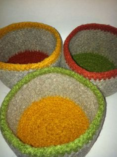 Crochet Felt Bowl Set of three by peacelovecreations on Etsy, $45.00