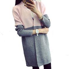 Купить товар Кардиган из шерсти трикотажные женщины мода зима теплая толстый хлопок свитера леди лоскутное длинным рукавом новое поступление RY1644 в категории Кардиганы на AliExpress. &n