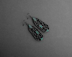Earrings, contemporary, modern jewelry design, FREE Shipping, limited edition, handmade, lasercut wood,  polymer clay, black steel hooks