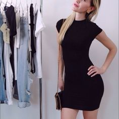 Perfect Black Mini Dress▫️One Day SALE ▪️Classic + flirty, the perfect black mini! Body hugging, fully lined + not see through, figure flattering. This dress looks very luxurious in person. New without tag. 95% viscose 5% spandex, nice stretch and fabric has a sleek sheen to it.  Sizes S, M, L available.  Same gorgeous material as the popular black midi dress I sell  Price is firm, bundles 10% discount Boutique Dresses Mini