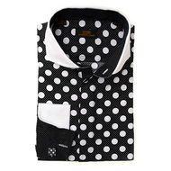 Steven Land Black White Polka Dot White Cutaway Collar Dress Shirt