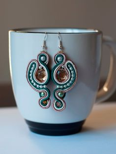 Green and cappuccino soutache earrings by AgatesDesign
