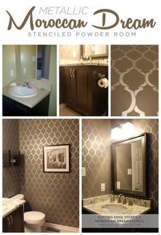 Use the Moroccan Dream Stencil in your powder room in a mettallic to get this gorgeous look! http://www.cuttingedgestencils.com/moroccan-stencil-design.html