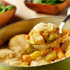 Slow-Cooker Chicken and Dumplings | Find more slow cooker recipes here: http://www.rachaelraymag.com/recipes/dinner-recipes/simple-slow-cooker-recipes#