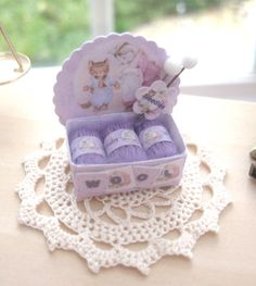 dollhouse wool box display beatrix potter lilac  wool 12th scale miniature for sewing knitting shop by Rainbowminiatures on Etsy