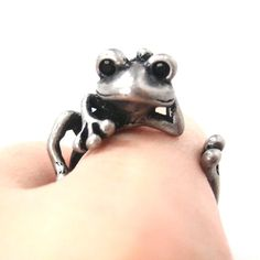 Funny Frog Animal Wrap Around Ring in Silver Size 4 to 9