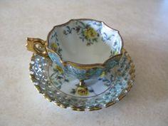Teacup and Saucer Lattice Trimont Light Blue by VintagebyTeresa, $40.00