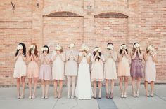 This is my favorite picture!  Love it!  I have ten bridesmaids too, and I love the variety, texture, and unique-ness of each individual look.  I really like this color pallete, but I think I could see it with a little more of that warm dusty purple and a warm charcoal or gray...