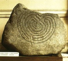The Hollywood Stone    The oldest, dateable labyrinth in the British Isles, it was found buried directly beside a pilgrim's track. Probably a waymark or a symbol of tortuous physical and spiritual journey ahead.