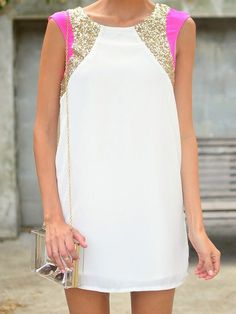 White Sleeveless Sequined Straight Chiffon Dress