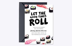 Sushi Birthday Invite Template by origamiprints on @creativemarket