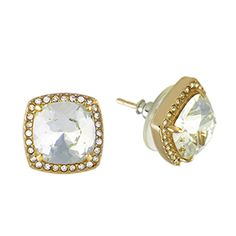 "A must-have for your jewelry collection, ""The Sophia"" Gold Stud Earrings with Pavé Swarovski Crystals provide a touch of sophistication. Pair them with your Living Locket® and Gold Renewal Teardrop Bangle.  Earring Features  *Hypoallergenic surgical steel posts *Nickel and lead free *Approximately 1/2"" diameter"