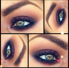 """M.A.C eyeshadow in 'Deep Damson' with 'Saddle' & 'Expresso' in the crease to smoke it out, and M.A.C eye kohl in """"Smolder"""" for eyeliner."""