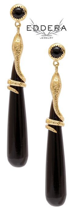 Eddera's Black Onyx Snake Drop Earrings 18k Gold Plated Bridal Jewelry