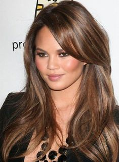 Celebrity Long Hairstyles with Side Swept Bangs   Full Dose