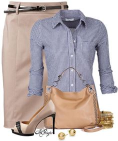 cream knee length skirt with gingham blouse work outfit bmodish