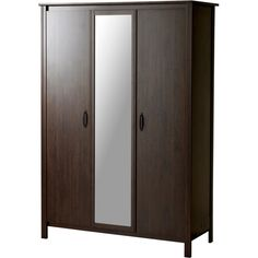 IKEA BRUSALI Wardrobe with 3 doors, brown ($249) found on Polyvore featuring home, furniture, storage & shelves, armoires, three door wardrobe, 3 door armoire, door shelf, adjustable shelf and storage furniture
