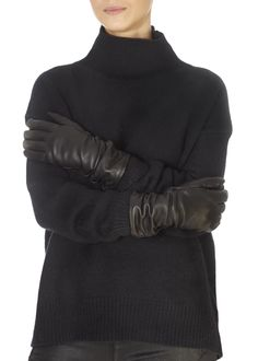 These are the Black Leather Gloves by Italian brand 'Santacana'. These classic black leather gloves are effortless, comfortable and will keep. Trilby Hat, Black Leather Gloves, Khaki Green, Black Fabric, Turtle Neck, Classic, How To Wear, Shopping