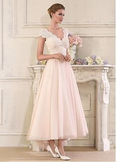 7758edfbf2f Magbridal Stunning Tulle   Satin V-Neck A-Line Ankle-length Wedding Dresses  With Lace Appliques
