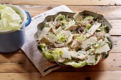 Delicious recipe for Caesar Salad! Make a quick, healthy salad with chicken, croutons and a savoury dressing with anchovies and mayonnaise.