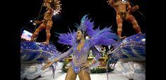 Panel Tom Maior, samba dancer, in this year's parades at the Sambadrome of Anhembi in São Paulo, Brazil.