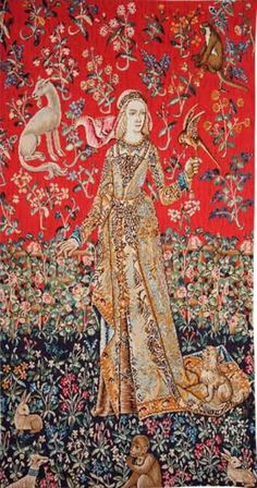 Lady of Cluny tapestry, the Dame de Cluny, is from The Lady and the Unicorn tapestries series. One of three small tapestries which form a stunning tryptych Medieval Tapestry, Medieval Art, Medieval Fantasy, Medieval Castle, Small Tapestry, Tapestry Wall Hanging, Middle Age Fashion, Unicorn Tapestries, Book Of Kells