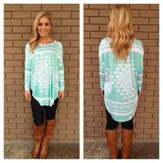Mint Kendra Long Sleeve Tunic Top